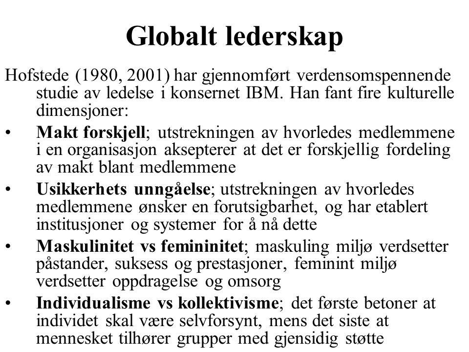 Globalt lederskap Hofstede (1980, 2001) har gjennomført verdensomspennende studie av ledelse i konsernet IBM. Han fant fire kulturelle dimensjoner: Ma