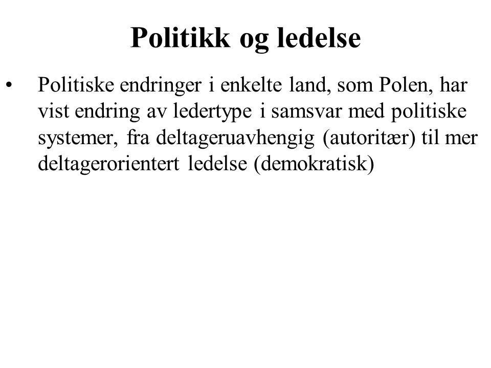 Politikk og ledelse Politiske endringer i enkelte land, som Polen, har vist endring av ledertype i samsvar med politiske systemer, fra deltageruavhengig (autoritær) til mer deltagerorientert ledelse (demokratisk)
