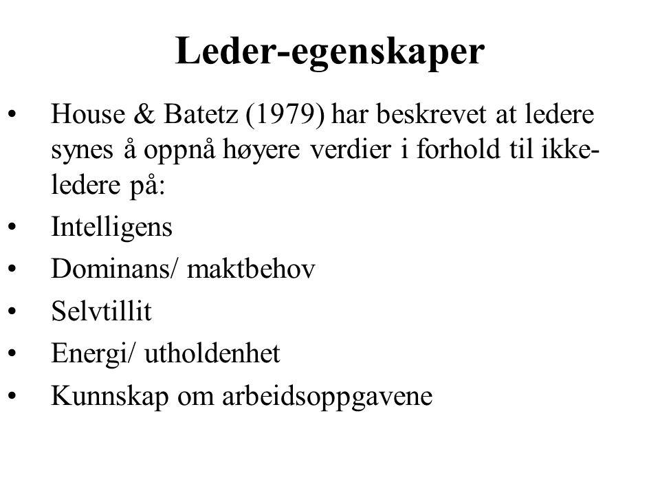 Leder-egenskaper House & Batetz (1979) har beskrevet at ledere synes å oppnå høyere verdier i forhold til ikke- ledere på: Intelligens Dominans/ maktbehov Selvtillit Energi/ utholdenhet Kunnskap om arbeidsoppgavene