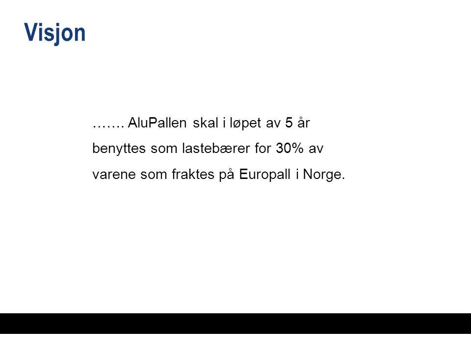 ……. AluPallen skal i løpet av 5 år benyttes som lastebærer for 30% av varene som fraktes på Europall i Norge. Visjon