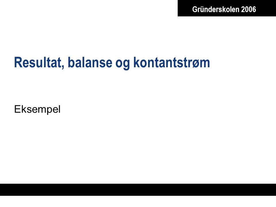 Gründerskolen 2006 Resultat, balanse og kontantstrøm Eksempel