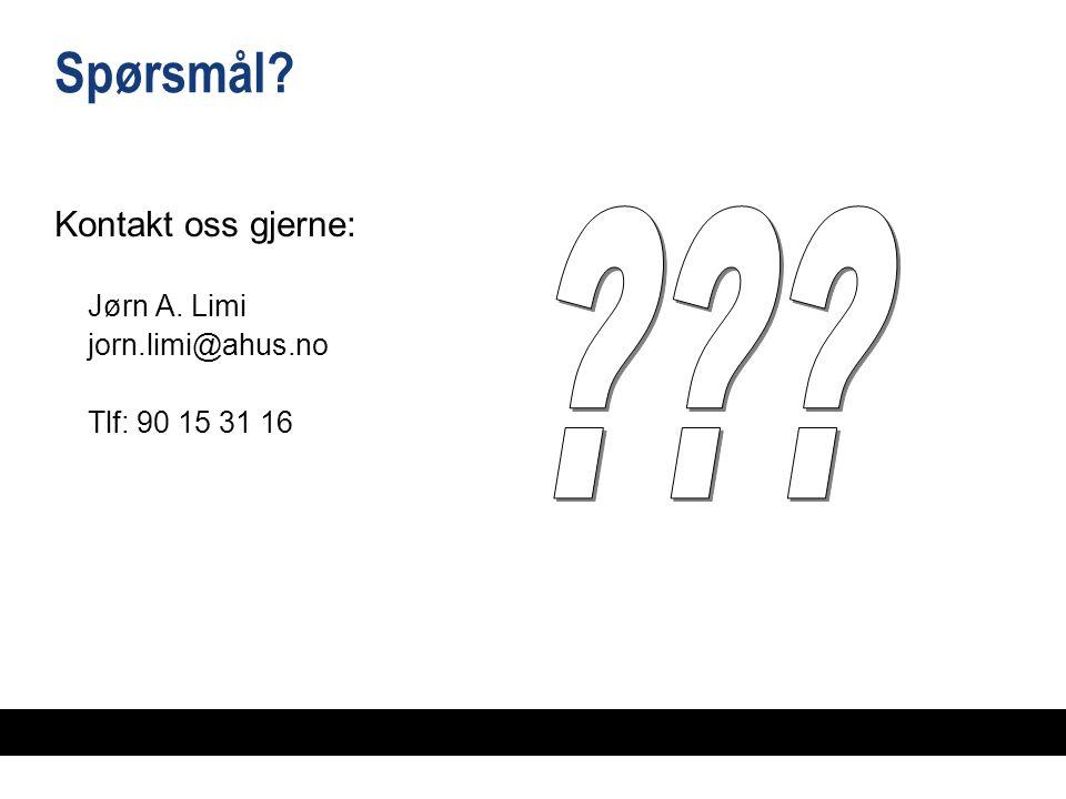 Spørsmål? Kontakt oss gjerne: Jørn A. Limi jorn.limi@ahus.no Tlf: 90 15 31 16