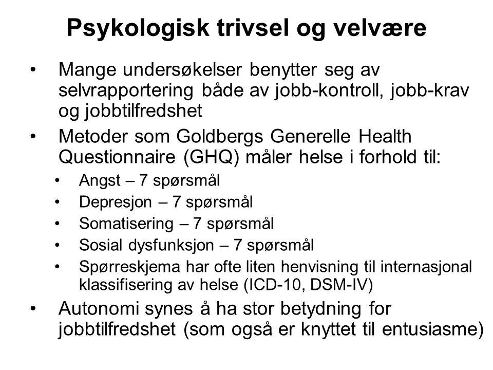 Psykologisk trivsel og velvære Mange undersøkelser benytter seg av selvrapportering både av jobb-kontroll, jobb-krav og jobbtilfredshet Metoder som Go