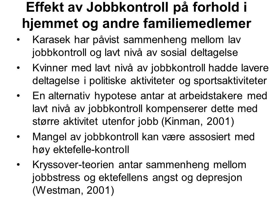 Effekt av Jobbkontroll på forhold i hjemmet og andre familiemedlemer Karasek har påvist sammenheng mellom lav jobbkontroll og lavt nivå av sosial delt