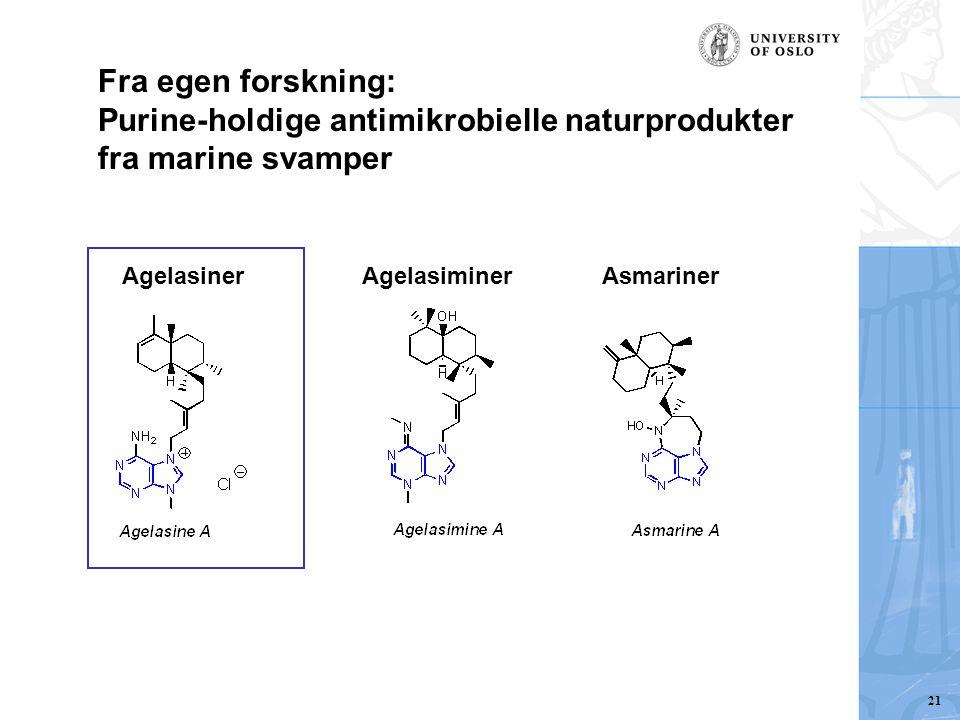 AgelasinerAgelasiminerAsmariner Fra egen forskning: Purine-holdige antimikrobielle naturprodukter fra marine svamper 21