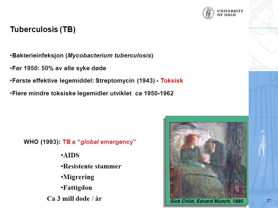 Tuberculosis (TB) Agelas dispar Bakterieinfeksjon (Mycobacterium tuberculosis) Før 1950: 50% av alle syke døde Første effektive legemiddel: Streptomycin (1943) - Toksisk Flere mindre toksiske legemidler utviklet ca 1950-1962 WHO (1993): TB a global emergency AIDS Resistente stammer Migrering Fattigdon Ca 3 mill døde / år 27
