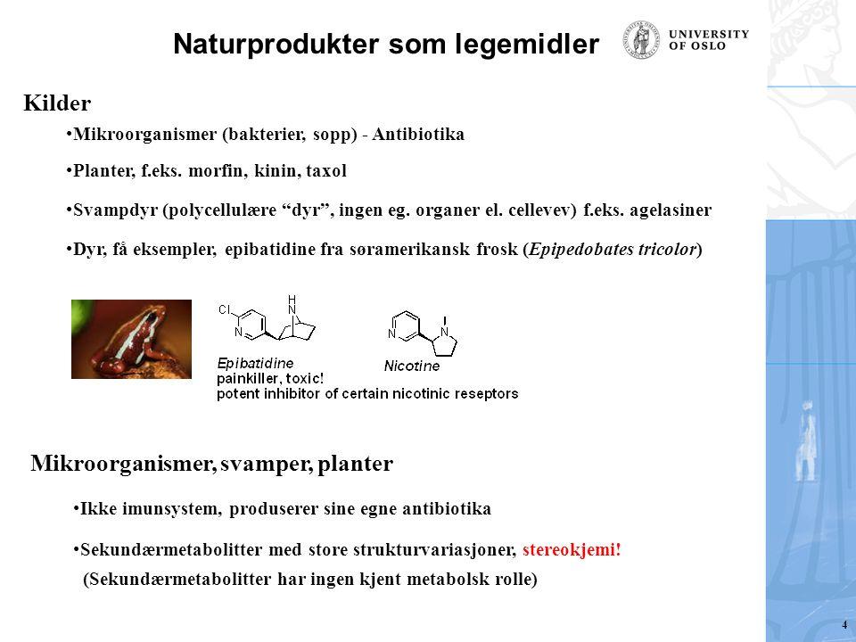 "Naturprodukter som legemidler Kilder Mikroorganismer (bakterier, sopp) - Antibiotika Planter, f.eks. morfin, kinin, taxol Svampdyr (polycellulære ""dyr"