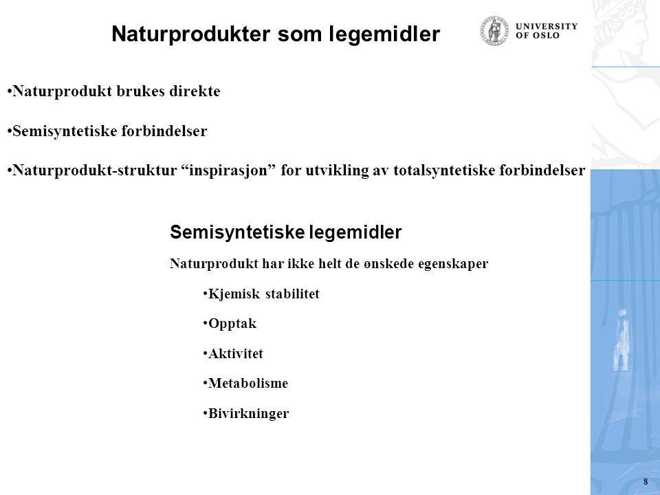 Naturprodukter som legemidler Naturprodukt brukes direkte Semisyntetiske forbindelser Naturprodukt-struktur inspirasjon for utvikling av totalsyntetiske forbindelser Semisyntetiske legemidler Naturprodukt har ikke helt de ønskede egenskaper Kjemisk stabilitet Opptak Aktivitet Metabolisme Bivirkninger 8