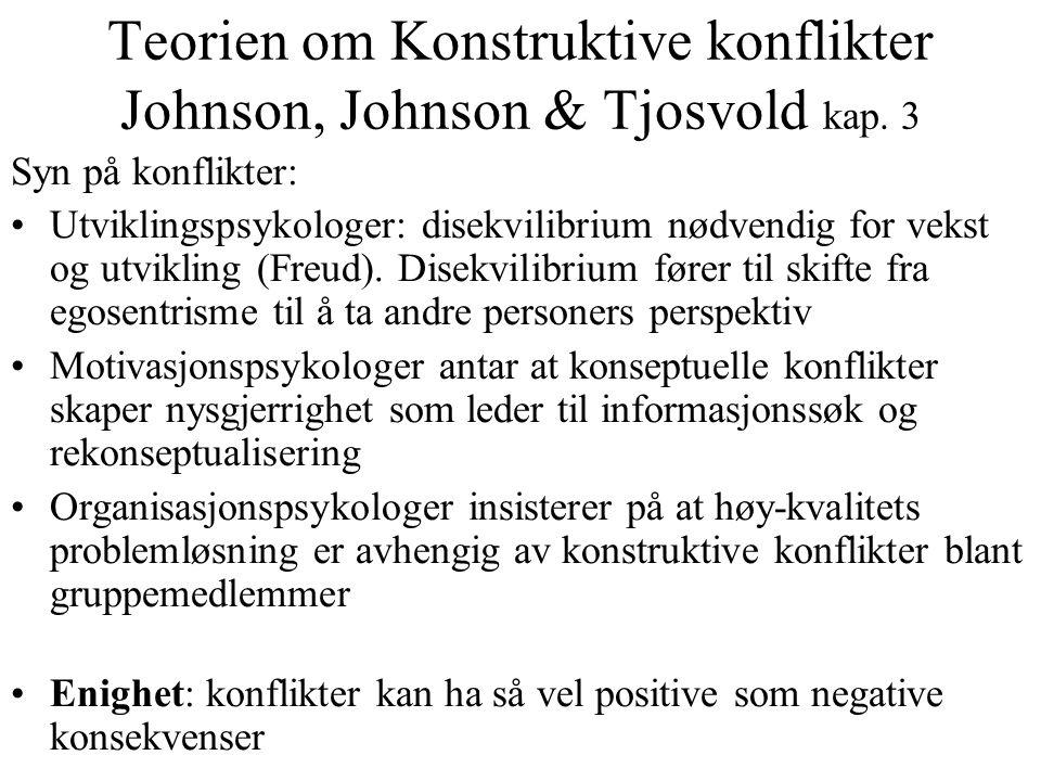 Teorien om Konstruktive konflikter Johnson, Johnson & Tjosvold kap. 3 Syn på konflikter: Utviklingspsykologer: disekvilibrium nødvendig for vekst og u