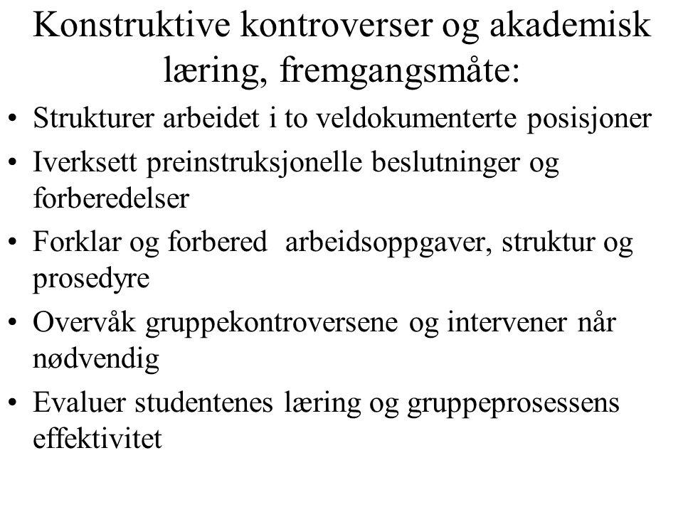 Konstruktive kontroverser og akademisk læring, fremgangsmåte: Strukturer arbeidet i to veldokumenterte posisjoner Iverksett preinstruksjonelle beslutn