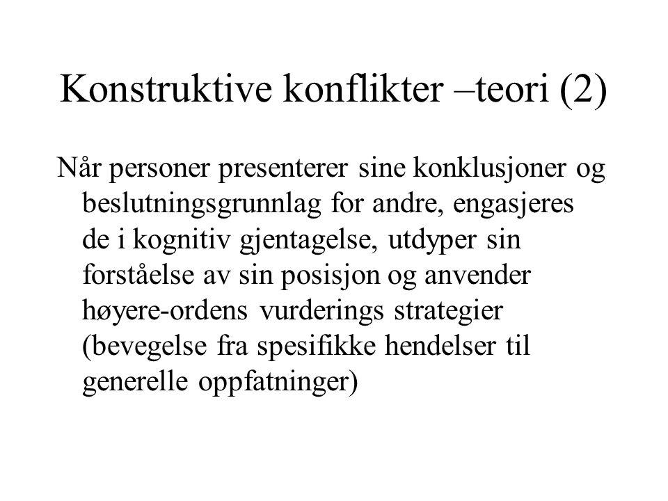 Konstruktive konflikter –teori (2) Når personer presenterer sine konklusjoner og beslutningsgrunnlag for andre, engasjeres de i kognitiv gjentagelse,