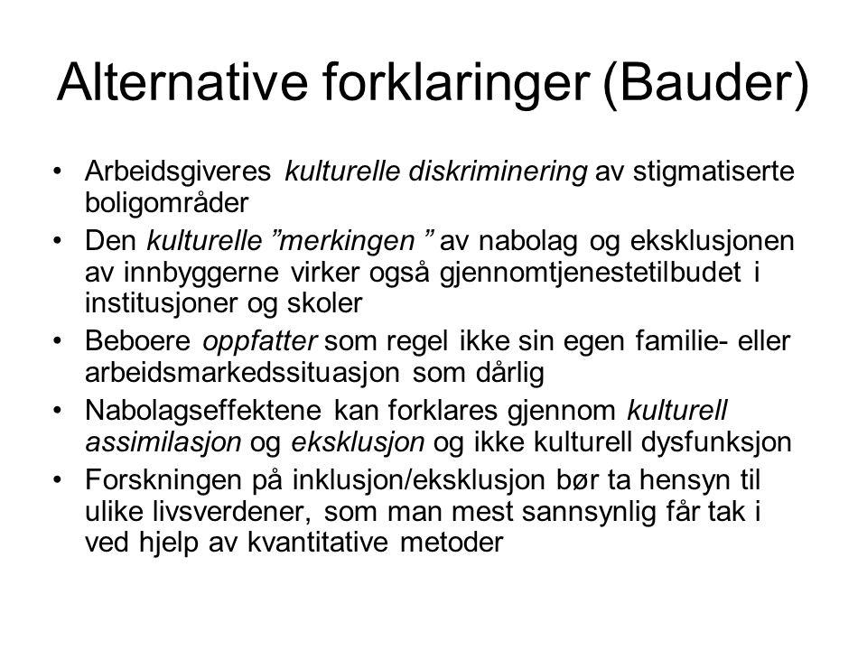 """Alternative forklaringer (Bauder) Arbeidsgiveres kulturelle diskriminering av stigmatiserte boligområder Den kulturelle """"merkingen """" av nabolag og eks"""