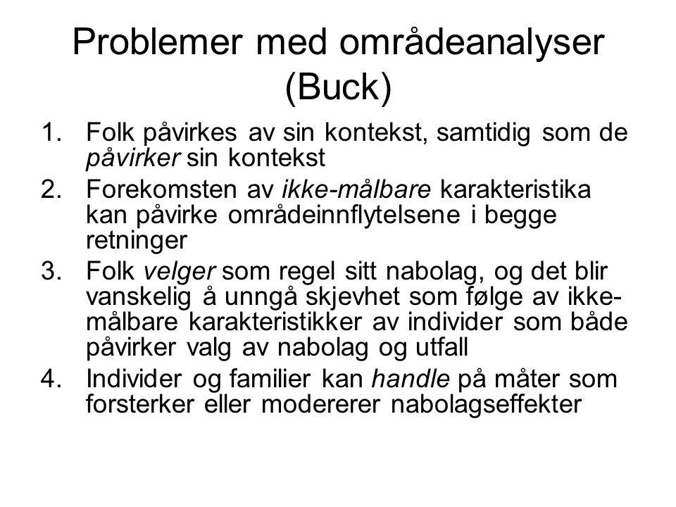 Problemer med områdeanalyser (Buck) 1.Folk påvirkes av sin kontekst, samtidig som de påvirker sin kontekst 2.Forekomsten av ikke-målbare karakteristik