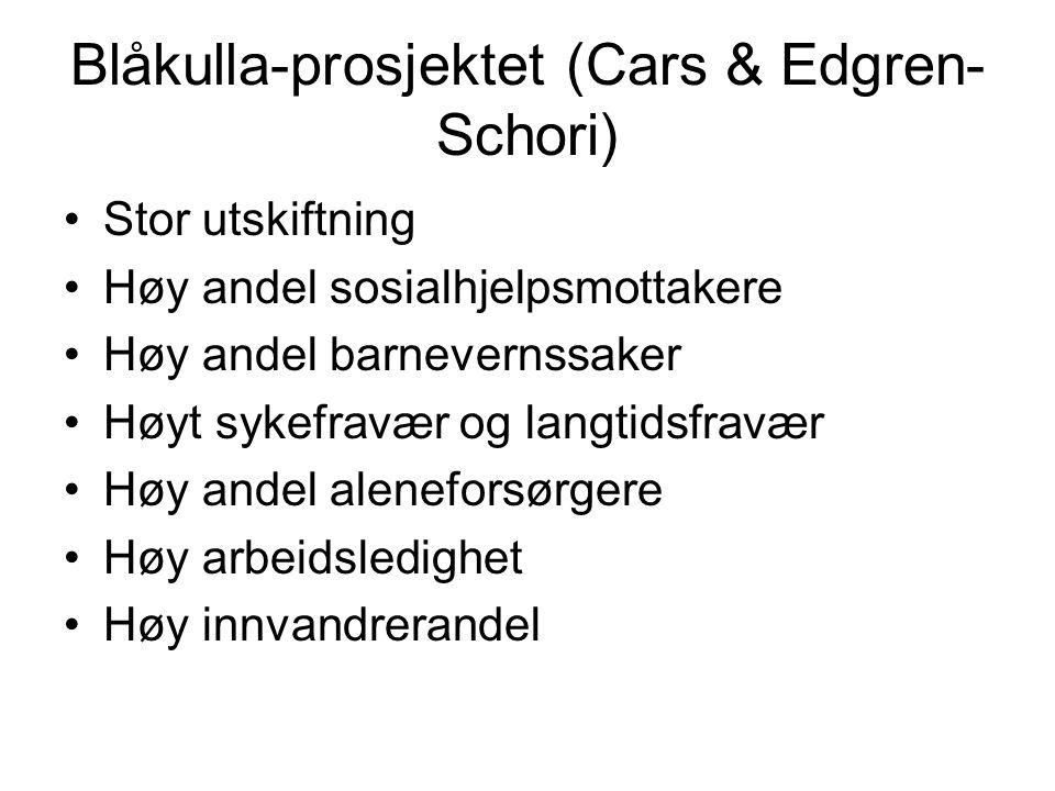 Blåkulla-prosjektet (Cars & Edgren- Schori) Stor utskiftning Høy andel sosialhjelpsmottakere Høy andel barnevernssaker Høyt sykefravær og langtidsfrav