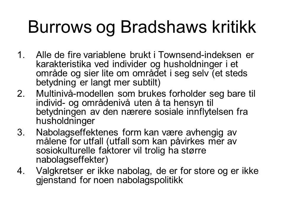 Burrows og Bradshaws kritikk 1.Alle de fire variablene brukt i Townsend-indeksen er karakteristika ved individer og husholdninger i et område og sier
