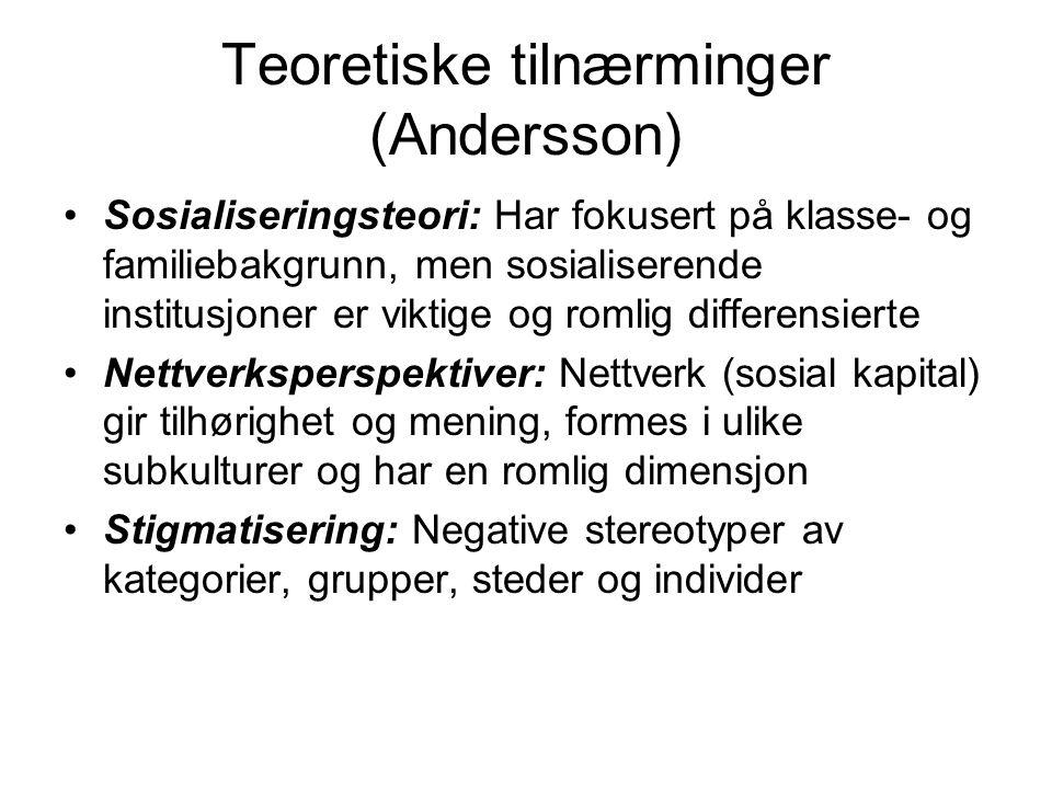 Teoretiske tilnærminger (Andersson) Sosialiseringsteori: Har fokusert på klasse- og familiebakgrunn, men sosialiserende institusjoner er viktige og ro