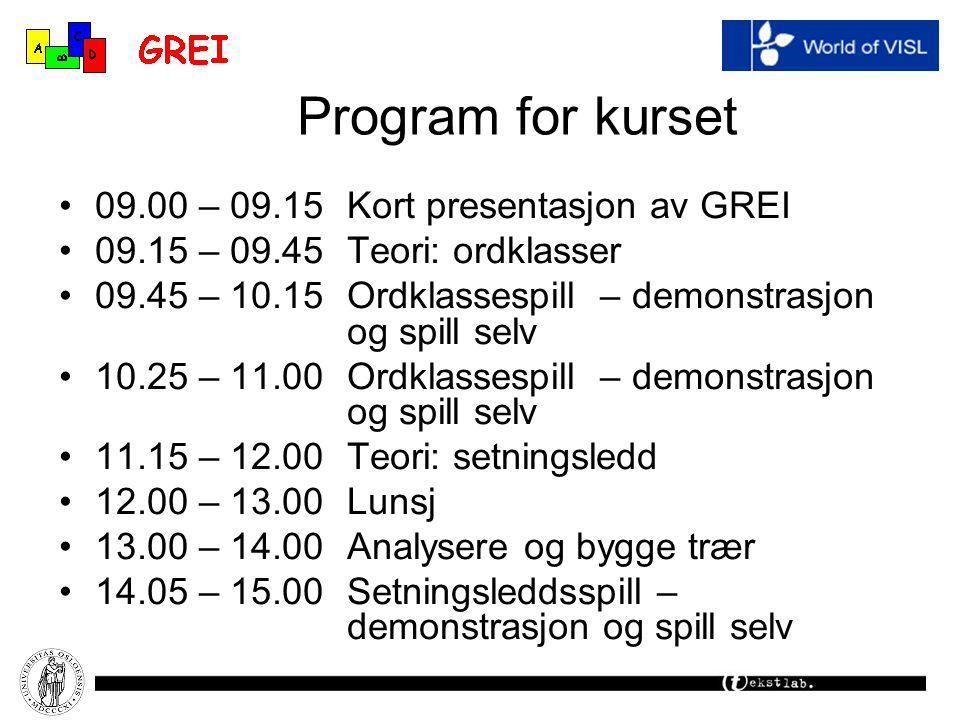 Program for kurset 09.00 – 09.15Kort presentasjon av GREI 09.15 – 09.45Teori: ordklasser 09.45 – 10.15Ordklassespill – demonstrasjon og spill selv 10.