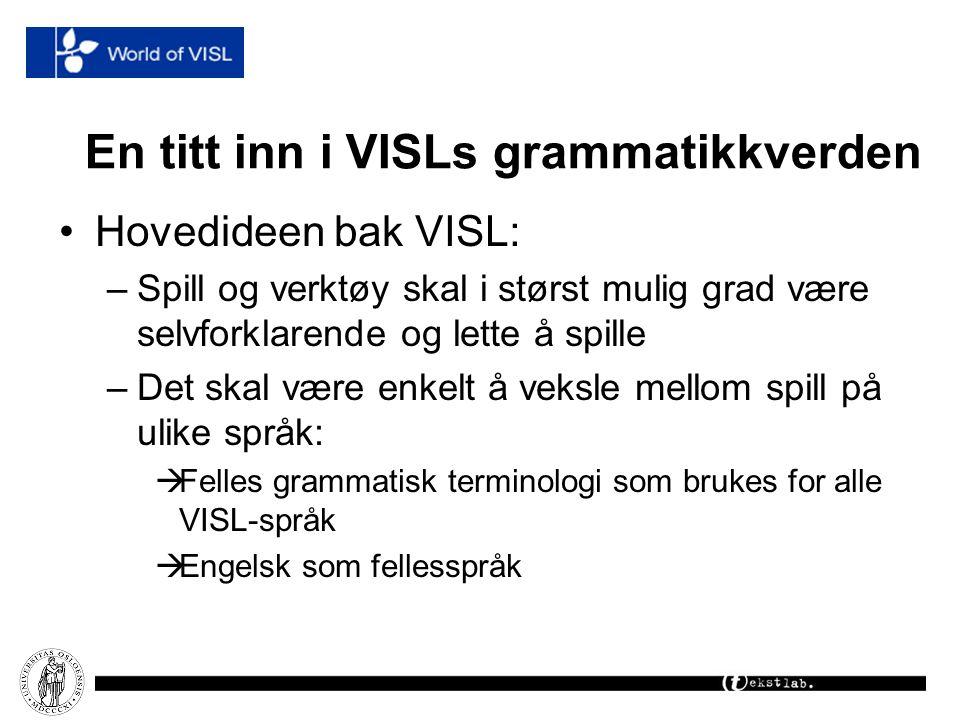 En titt inn i VISLs grammatikkverden Hovedideen bak VISL: –Spill og verktøy skal i størst mulig grad være selvforklarende og lette å spille –Det skal