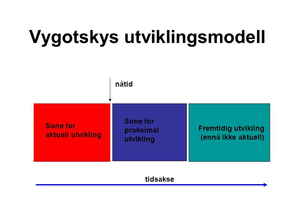 Vygotskys utviklingsmodell tidsakse Sone for aktuell utvikling Sone for proksimal utvikling Fremtidig utvikling (ennå ikke aktuell) nåtid