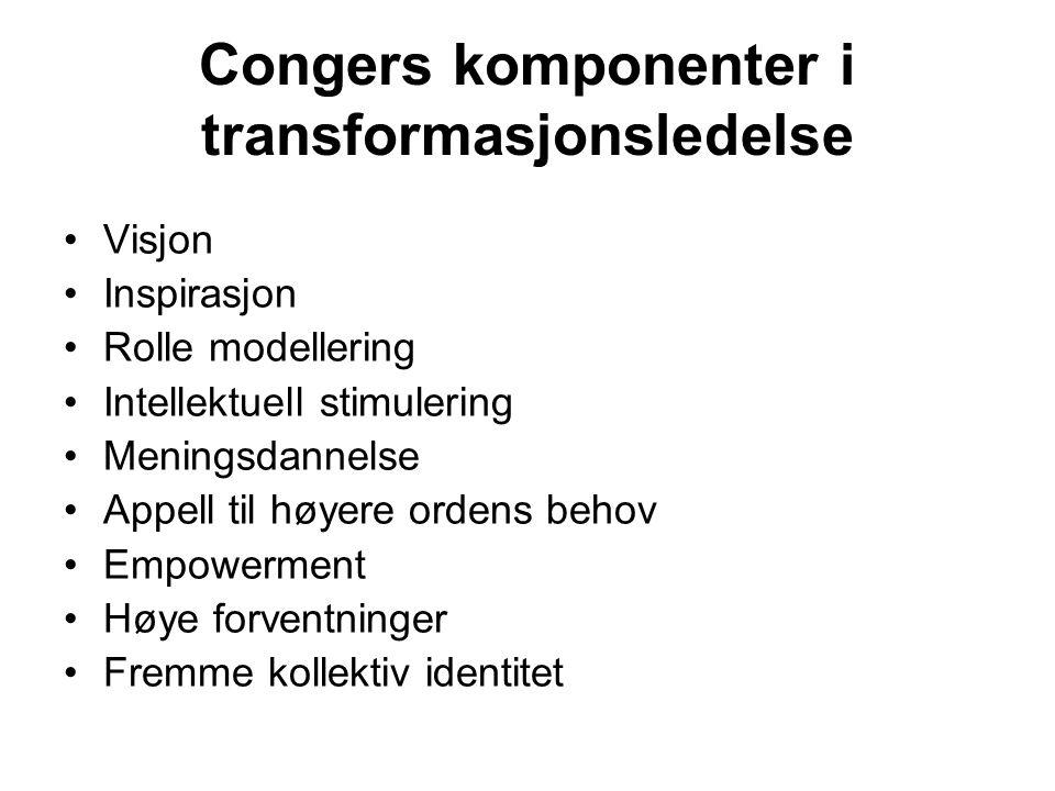 Congers komponenter i transformasjonsledelse Visjon Inspirasjon Rolle modellering Intellektuell stimulering Meningsdannelse Appell til høyere ordens b