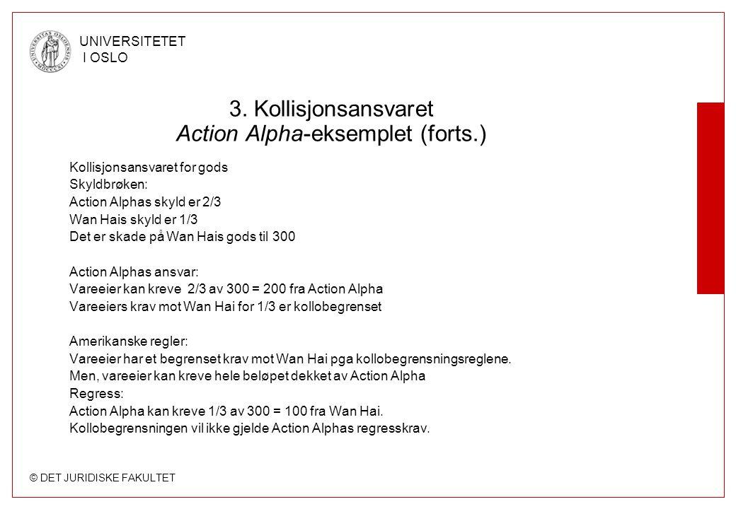 © DET JURIDISKE FAKULTET UNIVERSITETET I OSLO 3. Kollisjonsansvaret Action Alpha-eksemplet (forts.) Kollisjonsansvaret for gods Skyldbrøken: Action Al