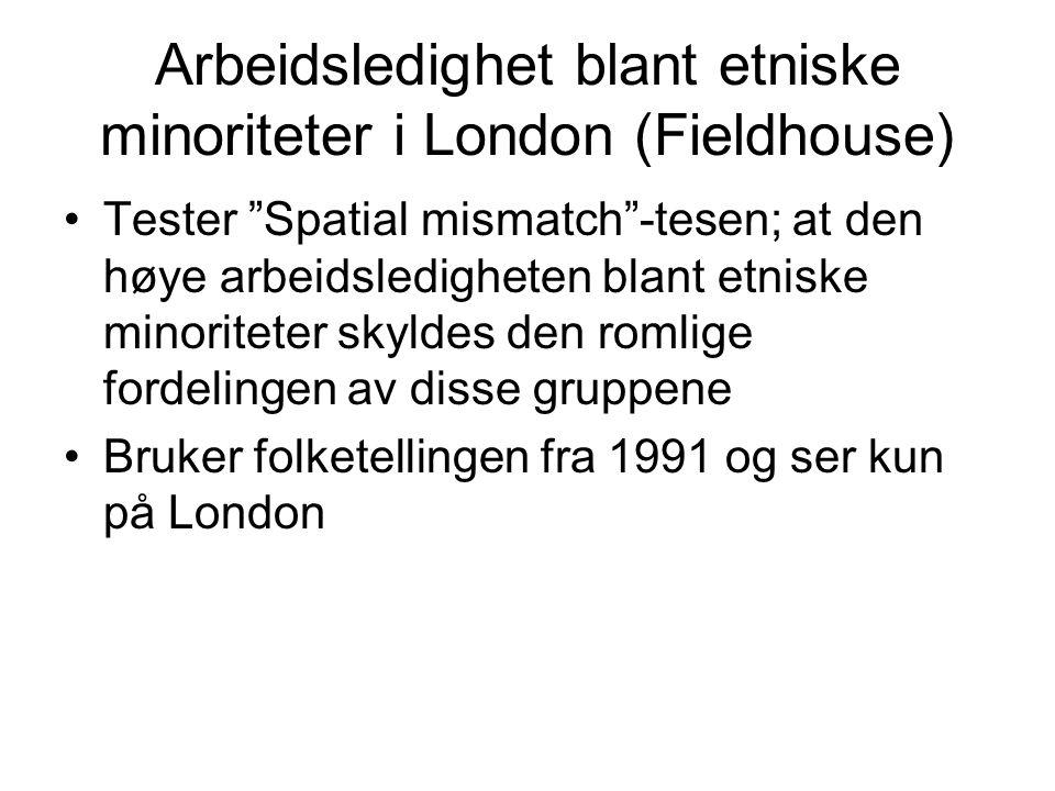 Arbeidsledighet blant etniske minoriteter i London (Fieldhouse) Tester Spatial mismatch -tesen; at den høye arbeidsledigheten blant etniske minoriteter skyldes den romlige fordelingen av disse gruppene Bruker folketellingen fra 1991 og ser kun på London