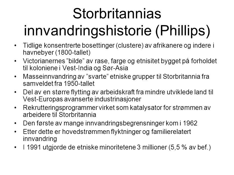 Storbritannias innvandringshistorie (Phillips) Tidlige konsentrerte bosettinger (clustere) av afrikanere og indere i havnebyer (1800-tallet) Victorian