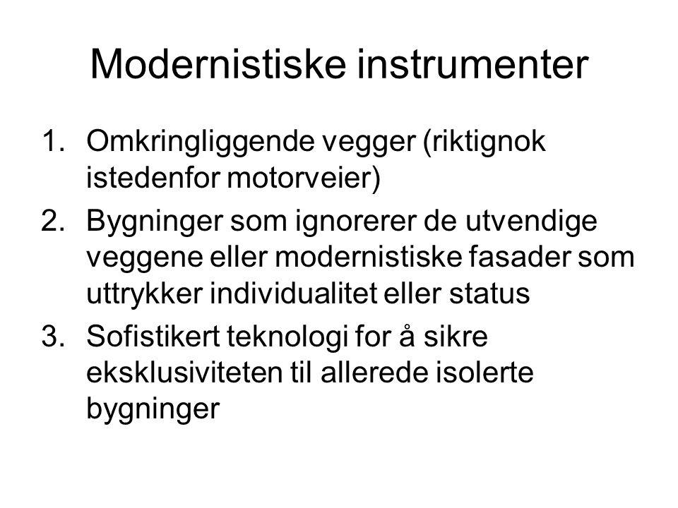 Modernistiske instrumenter 1.Omkringliggende vegger (riktignok istedenfor motorveier) 2.Bygninger som ignorerer de utvendige veggene eller modernistis