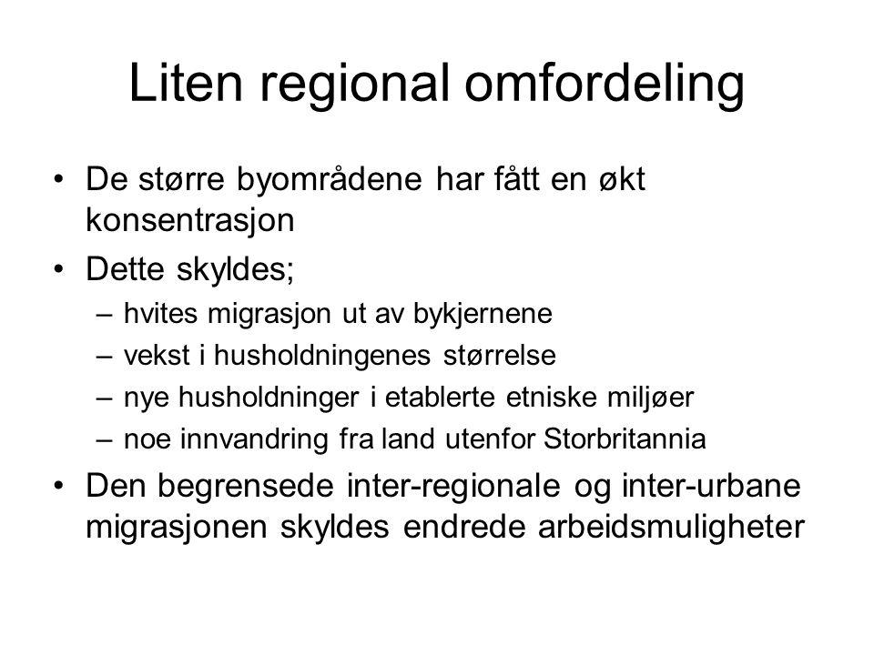 Liten regional omfordeling De større byområdene har fått en økt konsentrasjon Dette skyldes; –hvites migrasjon ut av bykjernene –vekst i husholdningenes størrelse –nye husholdninger i etablerte etniske miljøer –noe innvandring fra land utenfor Storbritannia Den begrensede inter-regionale og inter-urbane migrasjonen skyldes endrede arbeidsmuligheter