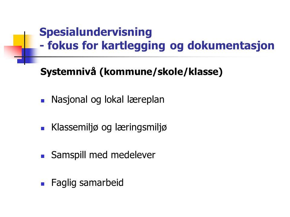 Spesialundervisning - fokus for kartlegging og dokumentasjon Systemnivå (kommune/skole/klasse) Nasjonal og lokal læreplan Klassemiljø og læringsmiljø