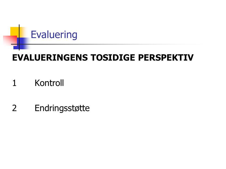 Evaluering EVALUERINGENS TOSIDIGE PERSPEKTIV 1Kontroll 2Endringsstøtte