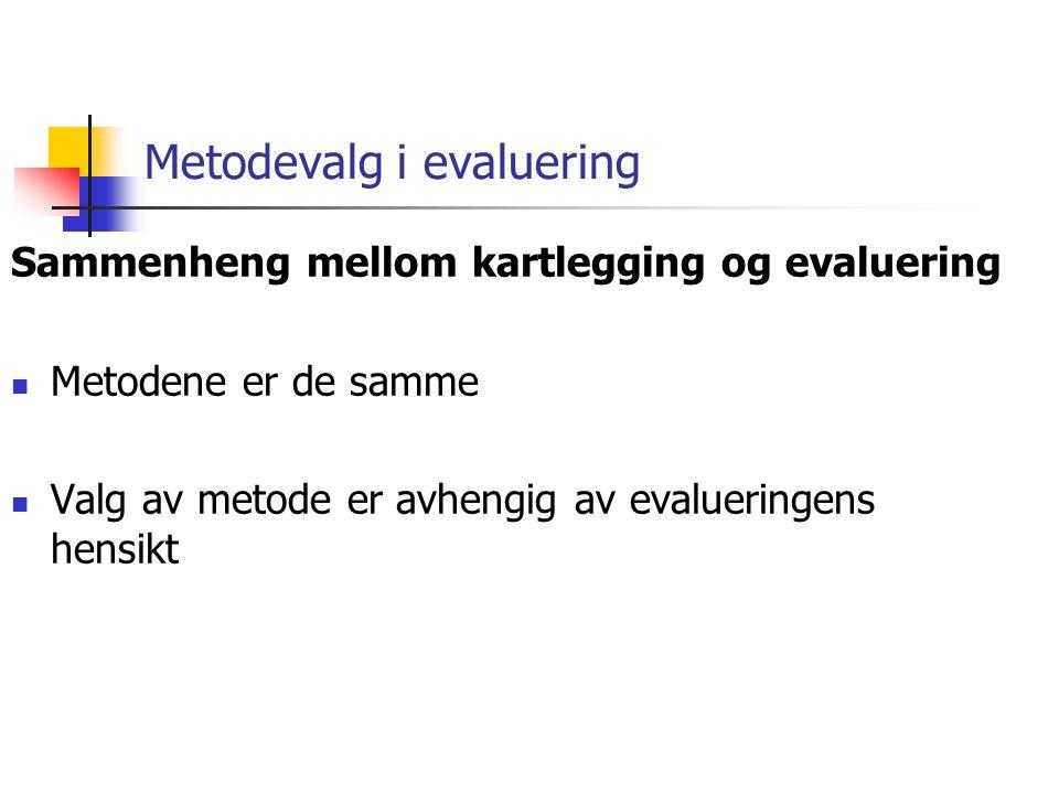 Metodevalg i evaluering Sammenheng mellom kartlegging og evaluering Metodene er de samme Valg av metode er avhengig av evalueringens hensikt
