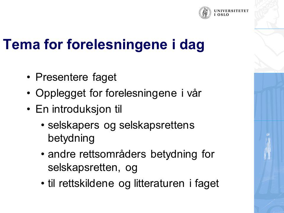 Selskapsrettsfaget: Introduksjon, fordypning og forskning.