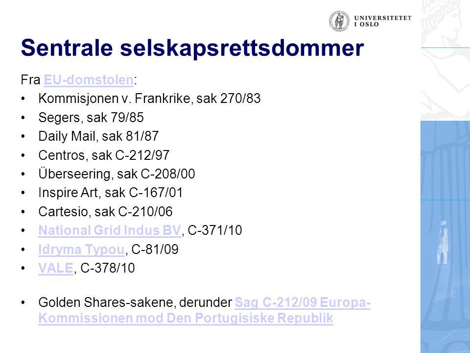 Sentral sekundærrett: Takeoverdirektivet Europaparlaments- og rådsdirektiv 2004/25/EF av 21.