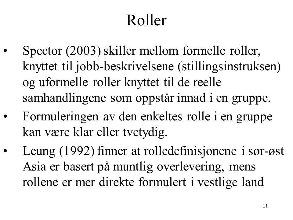 11 Roller Spector (2003) skiller mellom formelle roller, knyttet til jobb-beskrivelsene (stillingsinstruksen) og uformelle roller knyttet til de reell