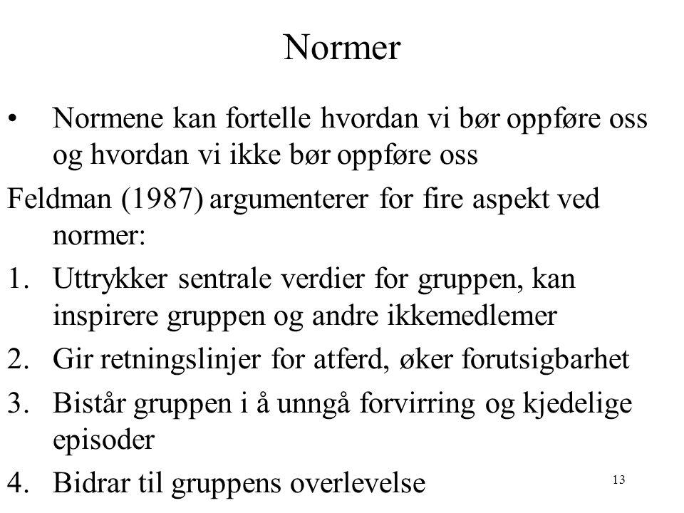 13 Normer Normene kan fortelle hvordan vi bør oppføre oss og hvordan vi ikke bør oppføre oss Feldman (1987) argumenterer for fire aspekt ved normer: 1