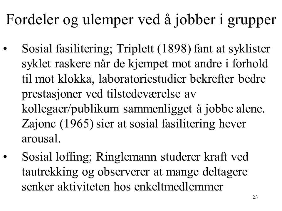 23 Fordeler og ulemper ved å jobber i grupper Sosial fasilitering; Triplett (1898) fant at syklister syklet raskere når de kjempet mot andre i forhold