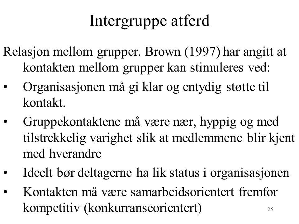 25 Intergruppe atferd Relasjon mellom grupper. Brown (1997) har angitt at kontakten mellom grupper kan stimuleres ved: Organisasjonen må gi klar og en
