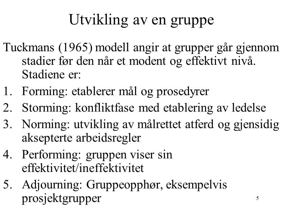 5 Utvikling av en gruppe Tuckmans (1965) modell angir at grupper går gjennom stadier før den når et modent og effektivt nivå. Stadiene er: 1.Forming: