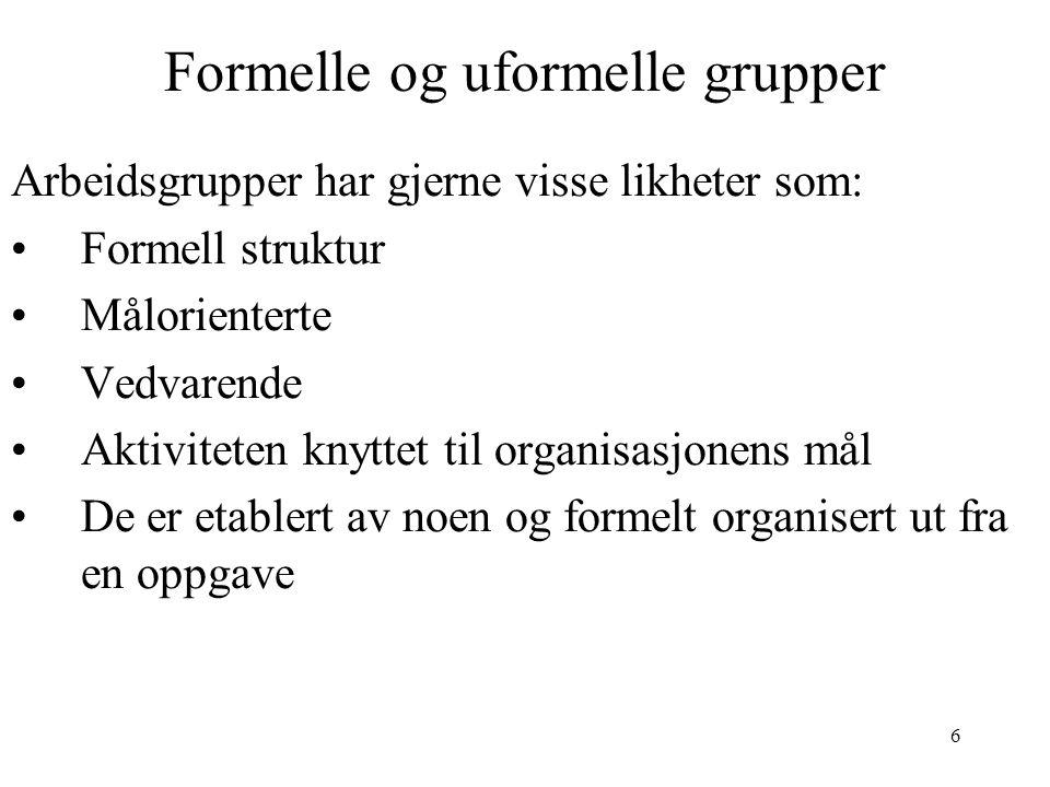 6 Formelle og uformelle grupper Arbeidsgrupper har gjerne visse likheter som: Formell struktur Målorienterte Vedvarende Aktiviteten knyttet til organi