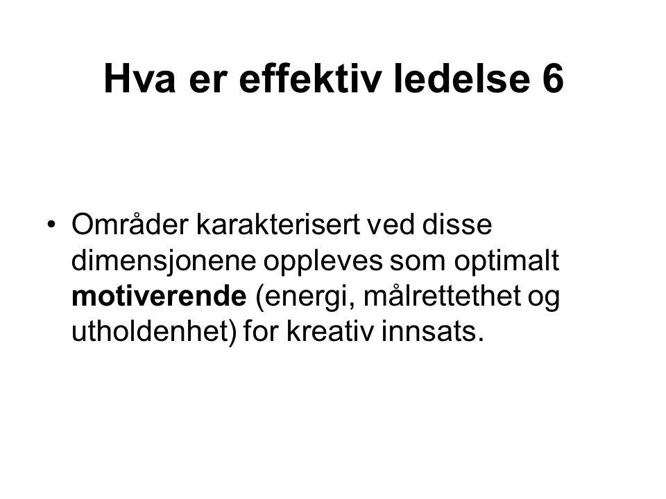 Hva er effektiv ledelse 6 Områder karakterisert ved disse dimensjonene oppleves som optimalt motiverende (energi, målrettethet og utholdenhet) for kre