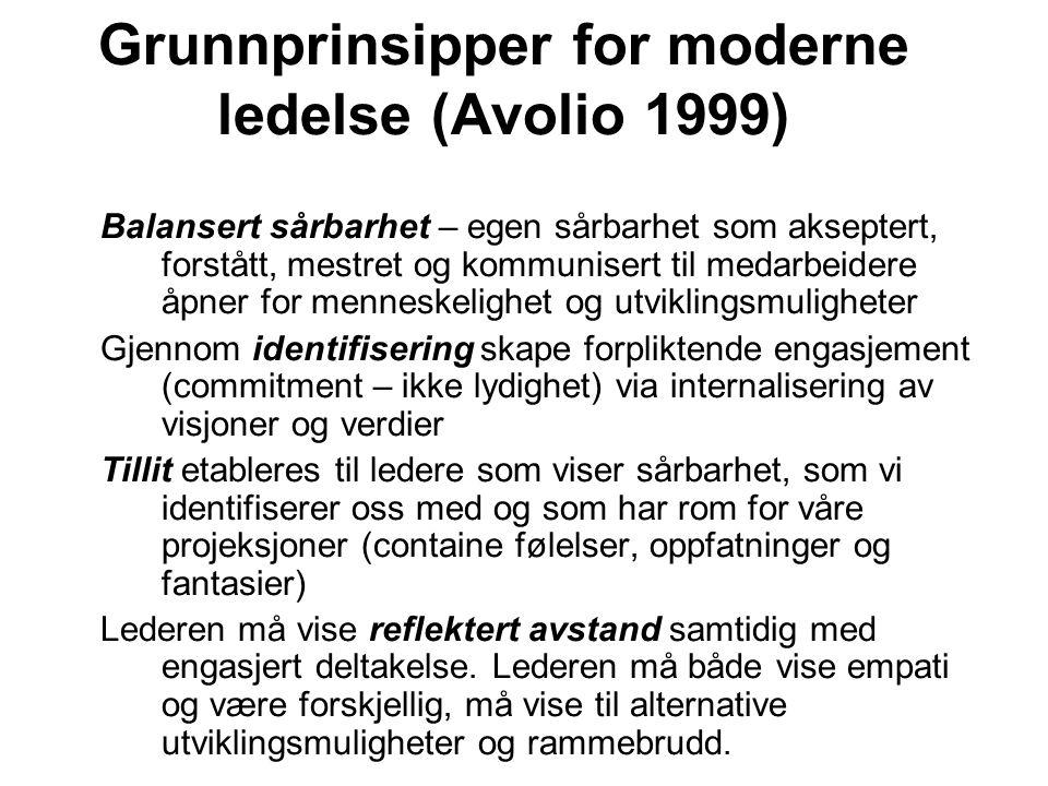 Grunnprinsipper for moderne ledelse (Avolio 1999) Balansert sårbarhet – egen sårbarhet som akseptert, forstått, mestret og kommunisert til medarbeider