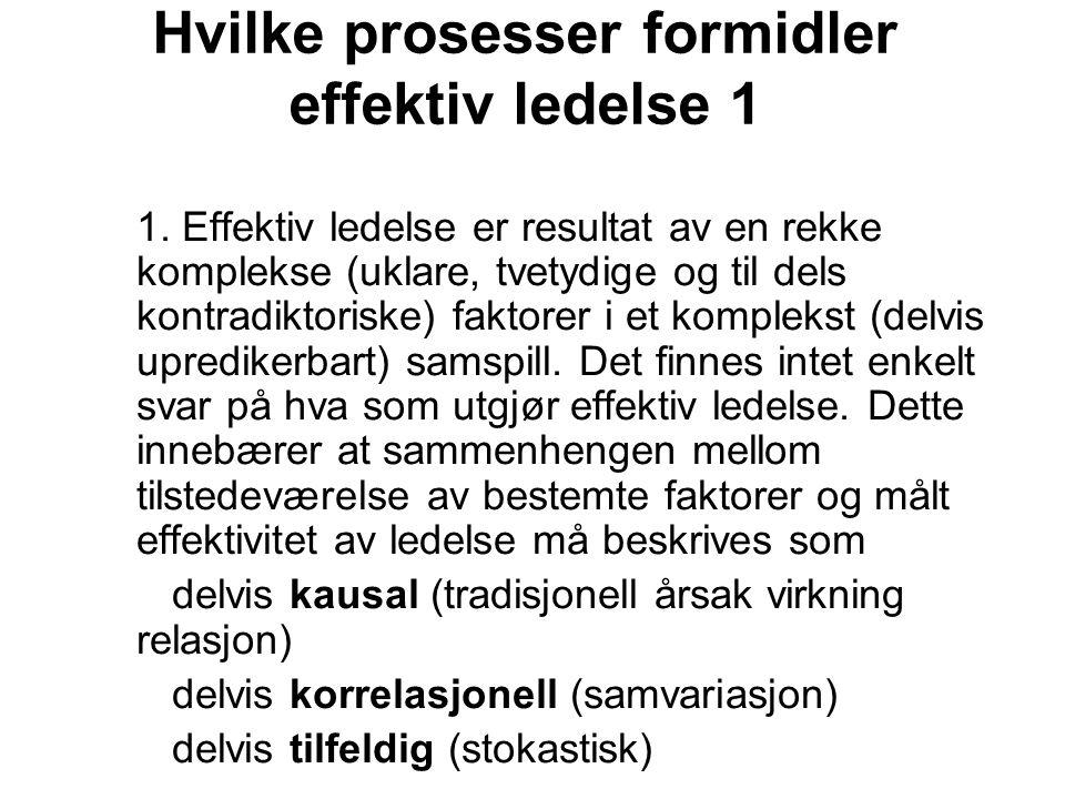 Hvilke prosesser formidler effektiv ledelse 1 1. Effektiv ledelse er resultat av en rekke komplekse (uklare, tvetydige og til dels kontradiktoriske) f