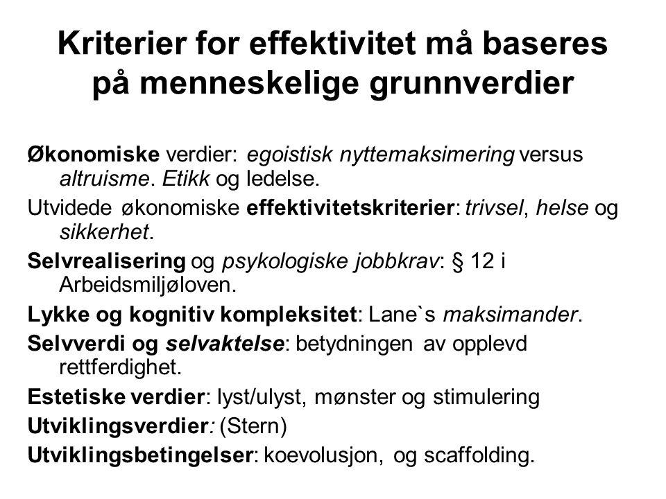Kriterier for effektivitet må baseres på menneskelige grunnverdier Økonomiske verdier: egoistisk nyttemaksimering versus altruisme. Etikk og ledelse.