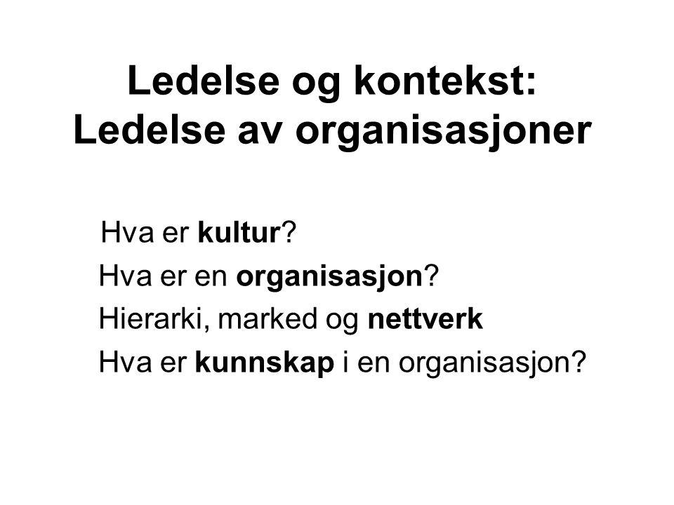 Ledelse og kontekst: Ledelse av organisasjoner Hva er kultur? Hva er en organisasjon? Hierarki, marked og nettverk Hva er kunnskap i en organisasjon?