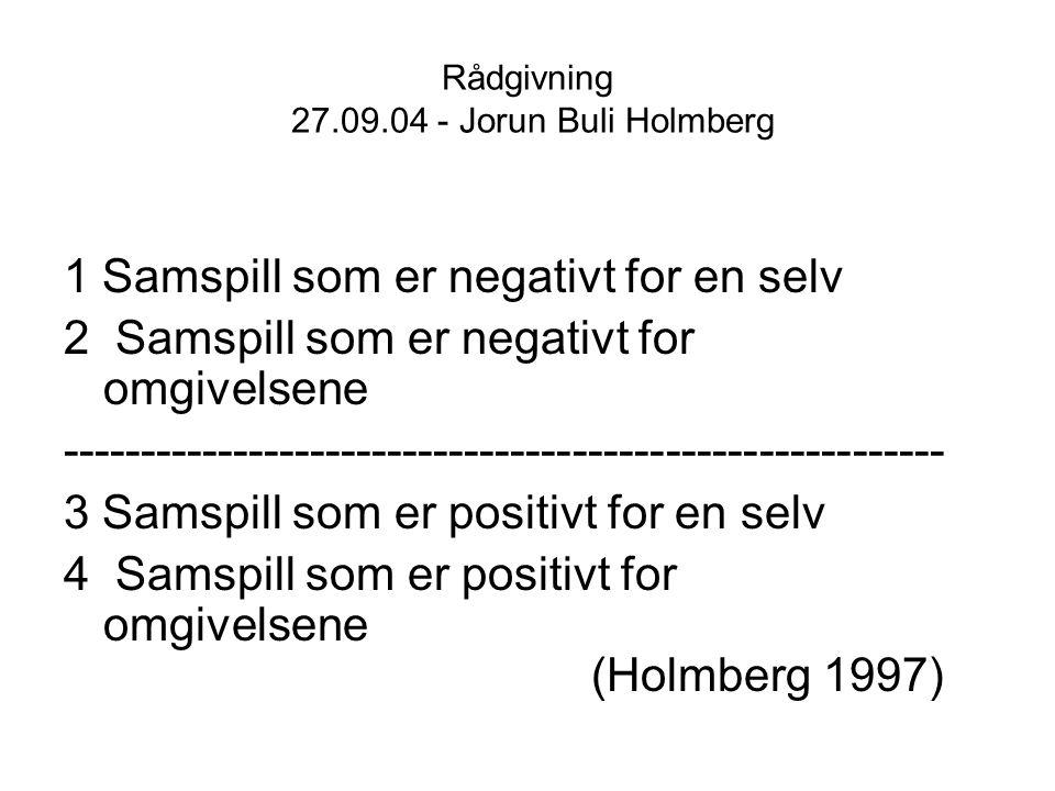 Rådgivning 27.09.04 - Jorun Buli Holmberg 1 Samspill som er negativt for en selv 2 Samspill som er negativt for omgivelsene --------------------------