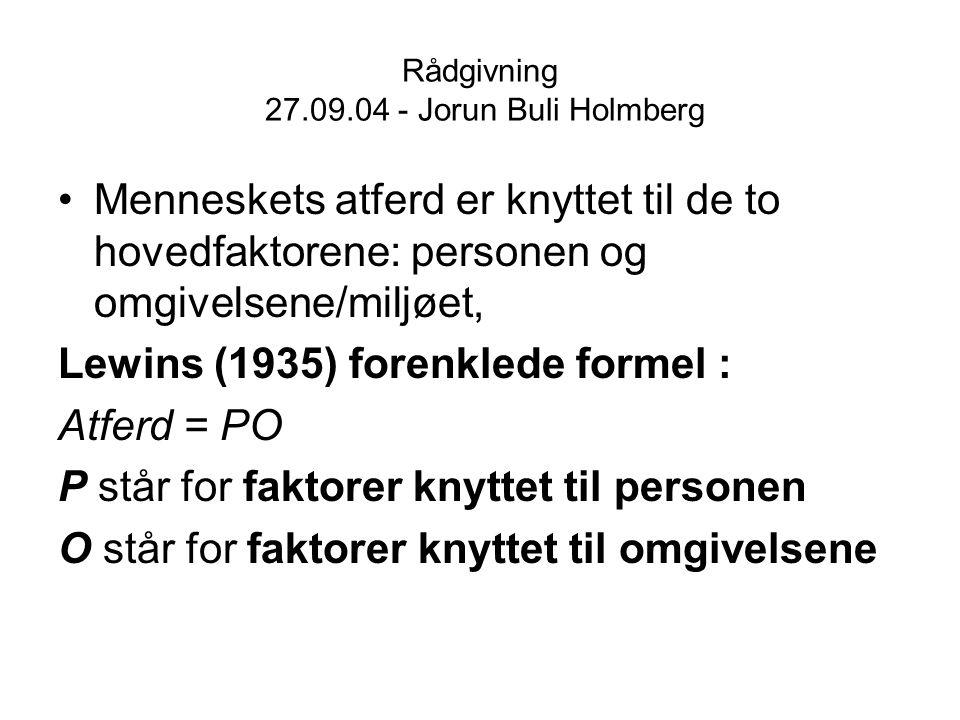 Rådgivning 27.09.04 - Jorun Buli Holmberg Menneskets atferd er knyttet til de to hovedfaktorene: personen og omgivelsene/miljøet, Lewins (1935) forenk