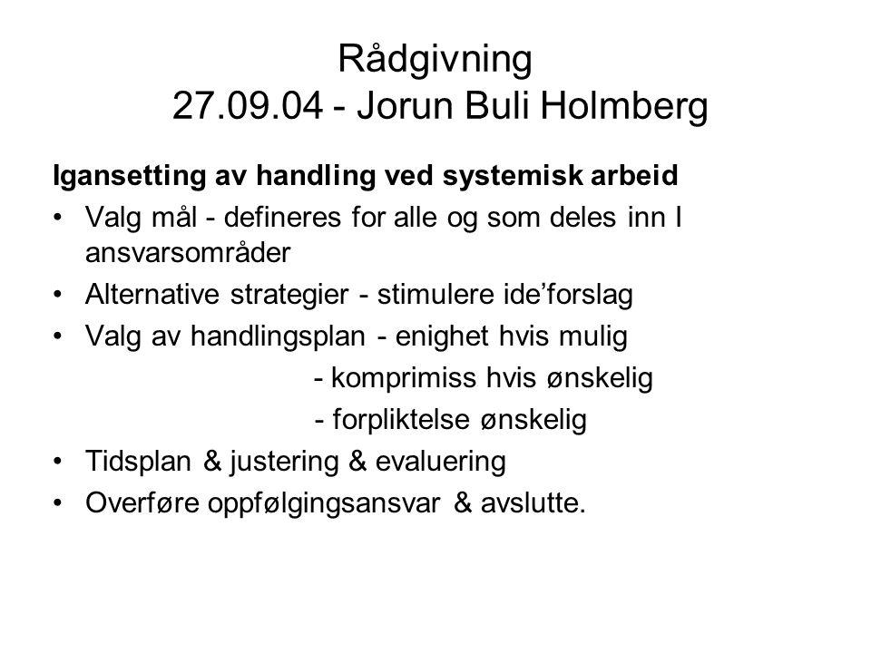 Rådgivning 27.09.04 - Jorun Buli Holmberg Igansetting av handling ved systemisk arbeid Valg mål - defineres for alle og som deles inn I ansvarsområder