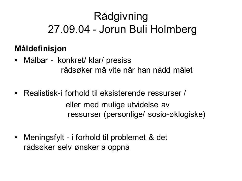 Rådgivning 27.09.04 - Jorun Buli Holmberg Måldefinisjon Målbar - konkret/ klar/ presiss rådsøker må vite når han nådd målet Realistisk-i forhold til e