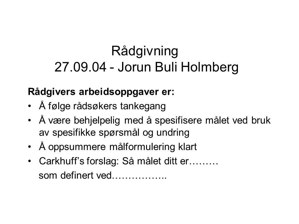 Rådgivning 27.09.04 - Jorun Buli Holmberg Rådgivers arbeidsoppgaver er: Å følge rådsøkers tankegang Å være behjelpelig med å spesifisere målet ved bru